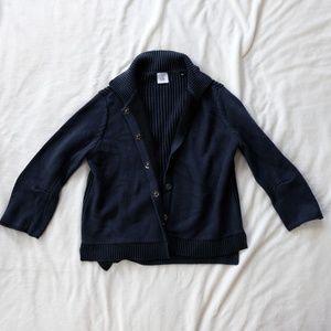 CAbi Dark Blue/Black Knit Sweater Jacket - Small